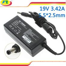 Adaptador de la CA del ordenador portátil 19v 3.42a 65w cargador de la energía del cuaderno de 5.5 * 2.5mm para el acer del asus con el cable de transmisión