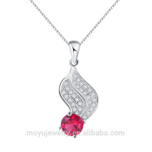 solid 925 silver leave shaped with hot red ruby zircon charm pendant