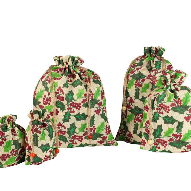 Wholesale cheap floral prints flax drawstring bag YJX