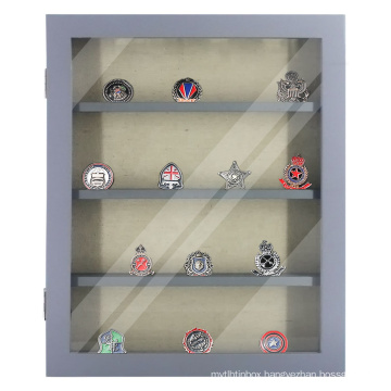 smooth 11x14 soild wood grey Military Challenge Coin Commemorative Coins and Collectible Items Shadow Box display case