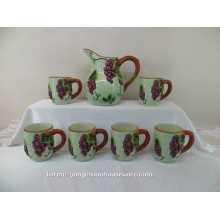 Hand Painting Ceramic Pitcher with The Mugs