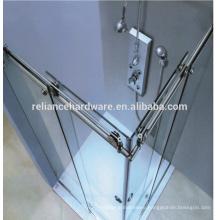 90 degree Frameless Stainless Steel Sliding Glass Shower Door System
