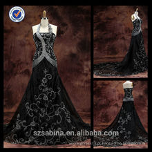 E0124Embroidery no atacado halter pescoço elegante vestido de noite preto pron barato vestido de noite longa para mulheres gordas