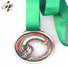 Promotional custom hollow logo metal sports medal with ribbon