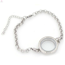 Fashion stainless steel crystal silver pearl chain link floating locket bracelet jewelry