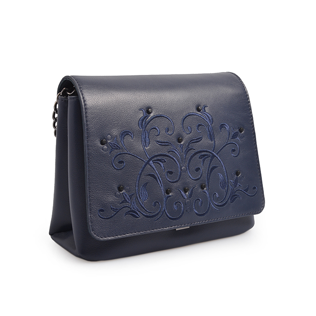 New Design Handmade Embossed Flowers Handbags