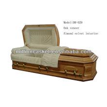 oak veneer wooden casket with adjustable bed
