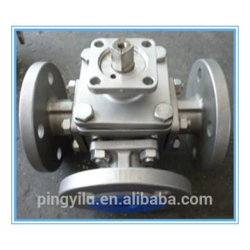 Aço inoxidável 304 316 321 três vias flange esfera válvula china fornecedor