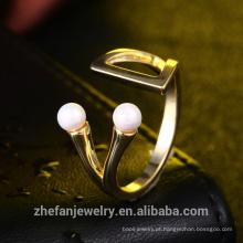 fabricante china jóia de ouro shell pérola design anel de latão