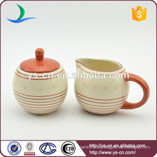 Cute estilo de azúcar de cerámica Bowl y Milk Pot para té y café