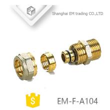 EM-F-A104 conector de compresión de rosca macho accesorios de tubería de unión de latón