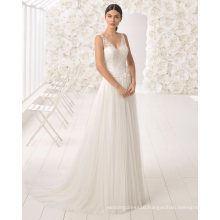 Free Shipping V Neck Lace and Tulle Bridal Gown Wedding Dress