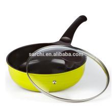 Eco-friendly aluminium wok pan with lid