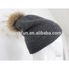 Doppelschicht Kaschmir Winter Mütze Hut mit Waschbär Fell Pom Poms