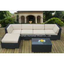 Conjunto de sofá de vime quintal de quintal de 6 peças