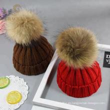 Sombrero de lana rojo / marrón cálido lindo aceptado OEM womens
