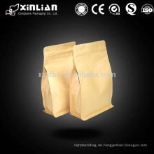 Flacher Boden / achtseitig versiegelter Teeverpackungsbeutel mit Reißverschluss