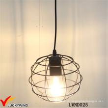 Rústico, metal, fio, metal, bola, indoor, pendente, lâmpada