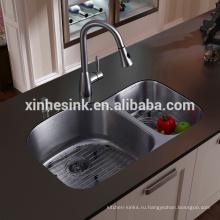 Из нержавеющей стали undermount раковину с двойной чашей, Ameircan 60/40 встройной раковины кухни с cupc