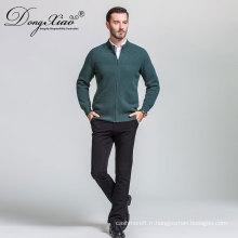 En gros de chandail de cardigan des hommes, chandail vert de tirettes de tirettes de Chine meilleur fournisseur