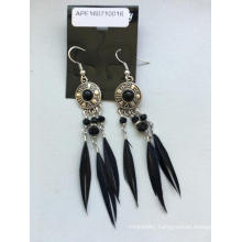 Retro Feather Black Earrings with Metal Silver Plated
