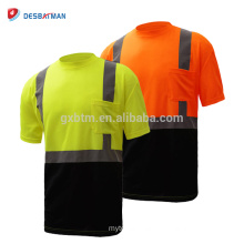 Hi Viz Mens Ffluorescen Orange Yellow 2 Tone Crew Collar T-shirts Work Safety Tee With Reflective Tapes And Chest Pocket EN20471