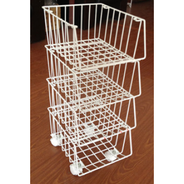 Four shelves Wire Storage Rack with Wheels