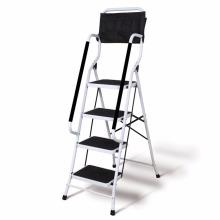 Escalera de seguridad plegable de 4 pasos - Pasamanos laterales acolchados - Bolsa de herramientas que se puede colocar