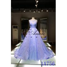 Panyu vestido de novia 2016 China al por mayor applique vestidos de novia de encaje Panyu sin mangas de encaje escote vestido de novia azul