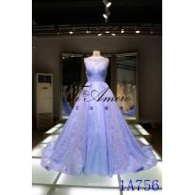 Паньюй свадебное платье 2016 Китай оптовая кружева аппликация свадебные платья Паньюй рукавов иллюзия декольте кружево свадебное платье синий