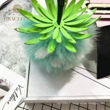 Meilleure vente ananas accessoires de trousseau de fourrure Pom Pom