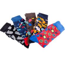 High Quality  Cotton Crew  Dress Novelty Black Red Stripe Men Socks