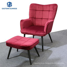 Comfortable Leisure Chair with Stool Red Morden Velvet Single Sofa