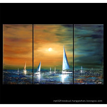 Modern Canvas Art Sailing Boat on Landscape Oil Painting for Decor (LA3-138)