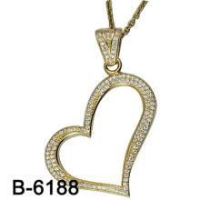 Novo design de moda jóias 925 pingente de prata esterlina com forma de coração