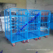 "500kg Two Doors Folding Roll Containers with 6"" Caster"