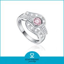 Vente en gros d'anneaux en pierre d'argent de mode