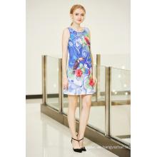 Ärmelloses Ponte Shift Kleid mit Digital Placement Print Backless Strappy Kleid