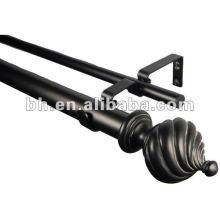 Black Resin Finial Metal East African Curtain Tube