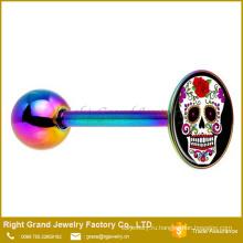 Нержавеющая сталь Радуга анодированный цветок череп логотип штангой язык кольцо
