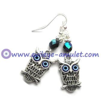 Evil Eye Owl Dangle Earrings, Antique Silver Blue Earrings