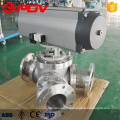 Pneumatic electric Flange connect Y type 3 way 120 degree 135 degree ball valve