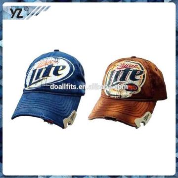 Alta qualidade de impressão abridor de garrafas de cerveja 6 painel de caminhão chapéu de malha / abridor de garrafa moleiro lavado bonés de beisebol