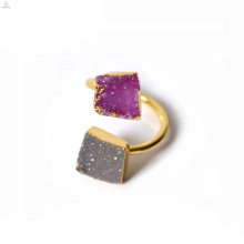 Double Gold Crystal Druse Finger Raw Stone Druzy Ring