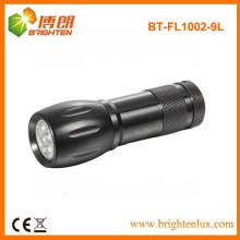 Fabrik Versorgung Aluminium 3aaa Batterie Gebraucht Logo Druck Werbeartikel Günstige 9 LED Aluminium Led Taschenlampe mit Handschlaufe