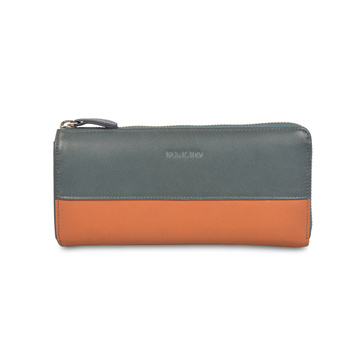 Bifold Long Leather Wallet Tarjetero Mujer Embrague Brillante