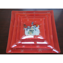 Eco-friendly Square Glass Dinnerware Set,charger plate