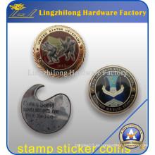 Moneda personalizada de la etiqueta engomada del sello militar con revestido de epoxy