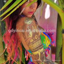 YINCAI Flash Tatouage Métallique Temporaire Or Tatouages Paillettes Autocollant Faux Tatoo Henna