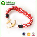 Punk Gothic Nautical Multi Red Rope Braided Gold Silver 316L Stainless Steel Anchor Charm Bracelet